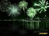 the green fireworks