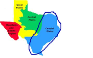 This is where the Coastal Plains are located in texas.