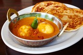 Paratha and egg curry