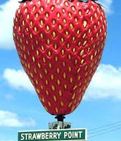 Strawberry Point is the home of the world's largest strawberry.
