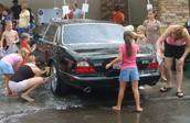 here is a car getting washed