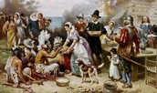 Colonists and Native Americans making food