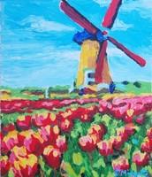 Windmill & Tulips