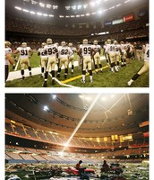 This is the stadium before and after Katrina hit