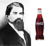 Dr. John S. Pemberton and Coca-Cola bottle