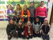"Student Council members with our ""Fill a ShoeBox"" Christmas gifts"