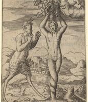 Pan et Pitys, transformée par Borée en pin. Giulio Bonasone 1510?-1576?