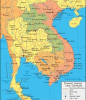 Map of Laos and it's surrounding neighbors