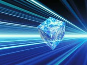 Blue Pixelated Cube