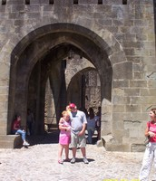 "Joshua and Micaela at the ""door"" of the medieval Carcassonne"