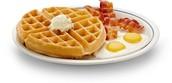 Tocina, huevos, y gofre