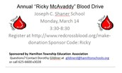 """Annual """"Ricky McAvaddy"""" Blood Drive"""