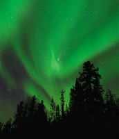 Different colors of Aurora Borealis- Green