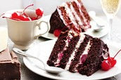Decadent Black Forest Cake w/Layers of Chocolate, Vanilla, & Jam