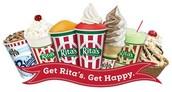 Coman en Rita's sorbete
