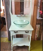 VIntage Upcycled Dry SInk into real sink
