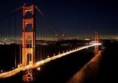 Modern image of the Golden Gate Bridge at night