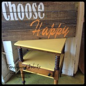 Wood & Yellow Chalk Paint Side Occasional Table - $185