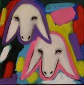 ציור של קדישמן עם שני כבשים