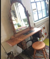 Antique Sewing Machine Vanity with Stool and Box ~ $860
