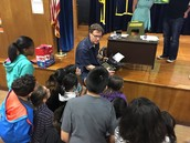 Sean from Typewriter Rodeo shows our Panthers the typewriter he uses to create poems!