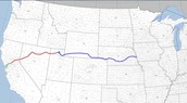 The route of the transcontinental railroad
