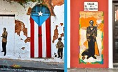 The Puerto Rican flag painted in old San Juan