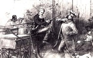 John Brown holding hostages at bay with rifle