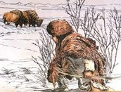 The men hunting in the winter