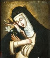 Catherine of Siena holding a cross