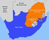 Location of the Boer Wars