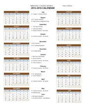 2015-2016 Minocqua J1 Calendar