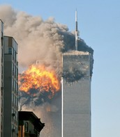 One of the Twin Towers After a Plane had Crashed into it.
