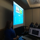 Colleen Gould leading a fun game about PBIS using a Kahoot made by Jenni Watkins!