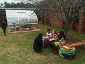 Blackwell's class collecting temperature data with one of Dr. Thompson's students.
