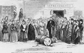 Women destroying barrels of liqour.