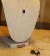 Maya Pendant & Serenity Small Stone Drop Earrings
