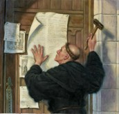 Luther nailing 95 theses on Wittenberg Church