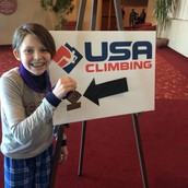 Nora V. at climbing nationals