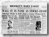 A newspaper from when the stock market crash