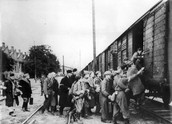 Jews Waiting to Get on the Train