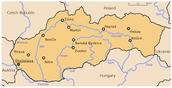 Map of Major cities in slovakia