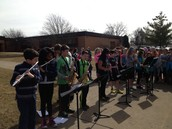 5th Grade Band Serenades During Recess