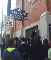 Preparing to enter Ebenezer Baptist Church
