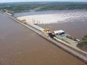 Represa de Salto Grande desde arriba.