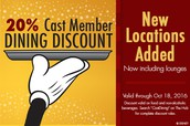 Disney Difference - New Locations Offer Cast Dining Discount