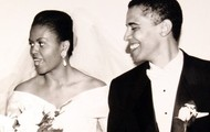 Michelle and Barack on their wedding day