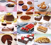 Biscuits, chocolate cake, puddings, pancakes, etc.