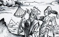 Ptolemy studying with the muse, Astronomy.
