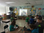 Students working on their different 'jobs' during the Mystery Skype